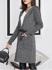 Hooded Patch Pocket Plain Drawstring Wrap Coat