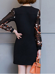 Split Neck Embroidery Hollow Out Bodycon Dress