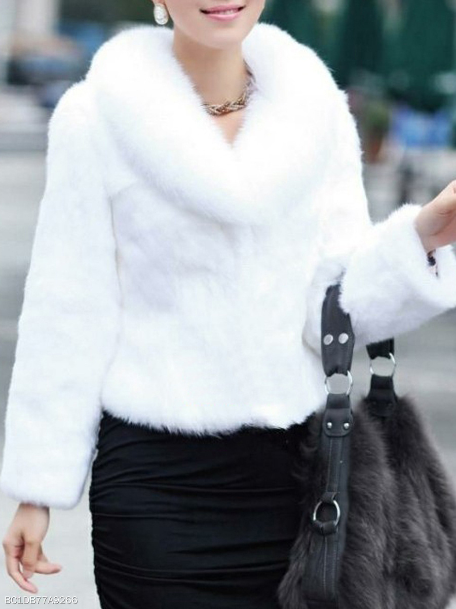 Faux Fur Collar  Plain  Long Sleeve Coats