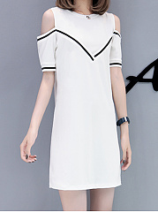 Round Neck  Contrast Piping  Color Block Shift Dress