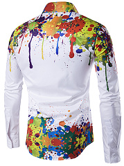 Colorful Printed Men Turn Down Collar Shirts
