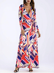 Surplice  Bowknot  Printed Maxi Dress
