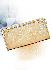 Glitter-Contrast-Trim-PU-Wallet