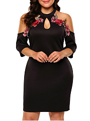 Open Shoulder  Embroidery Plain Plus Size Bodycon Dresses