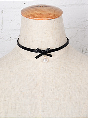 Leather Bowknot Pu Choker Necklace