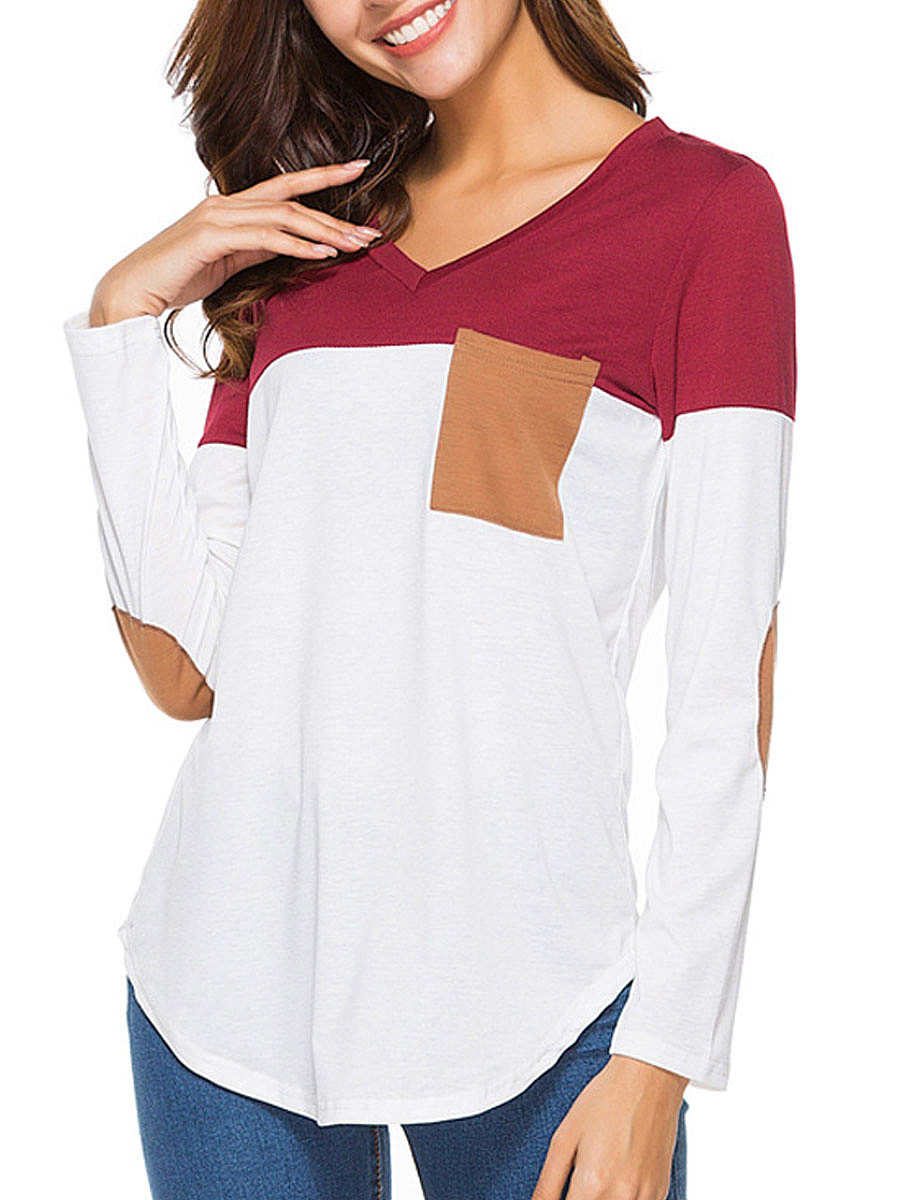 V-Neck  Patchwork  Plain Long Sleeve T-Shirts