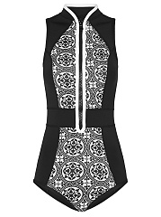 Band-Collar-Patchwork-Zips-Printed-One-Piece