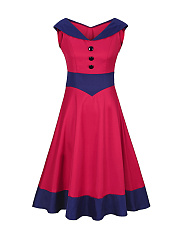V-Neck-Decorative-Button-Awesome-Color-Block-Plus-Size-Flared-Dress