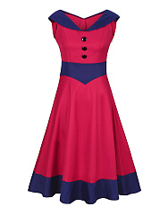 V-Neck  Decorative Button Awesome Color Block Plus Size Flared Dress