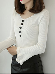 Round Neck  Plain  Long Sleeve Pullover