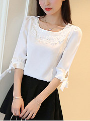 Round Neck  Decorative Lace  Curved Hem  Plain  Tie Sleeve  Half Sleeve Blouses