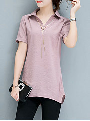 Spring Summer  Cotton  Women  Turn Down Collar  Asymmetric Hem  Plain  Short Sleeve Blouses