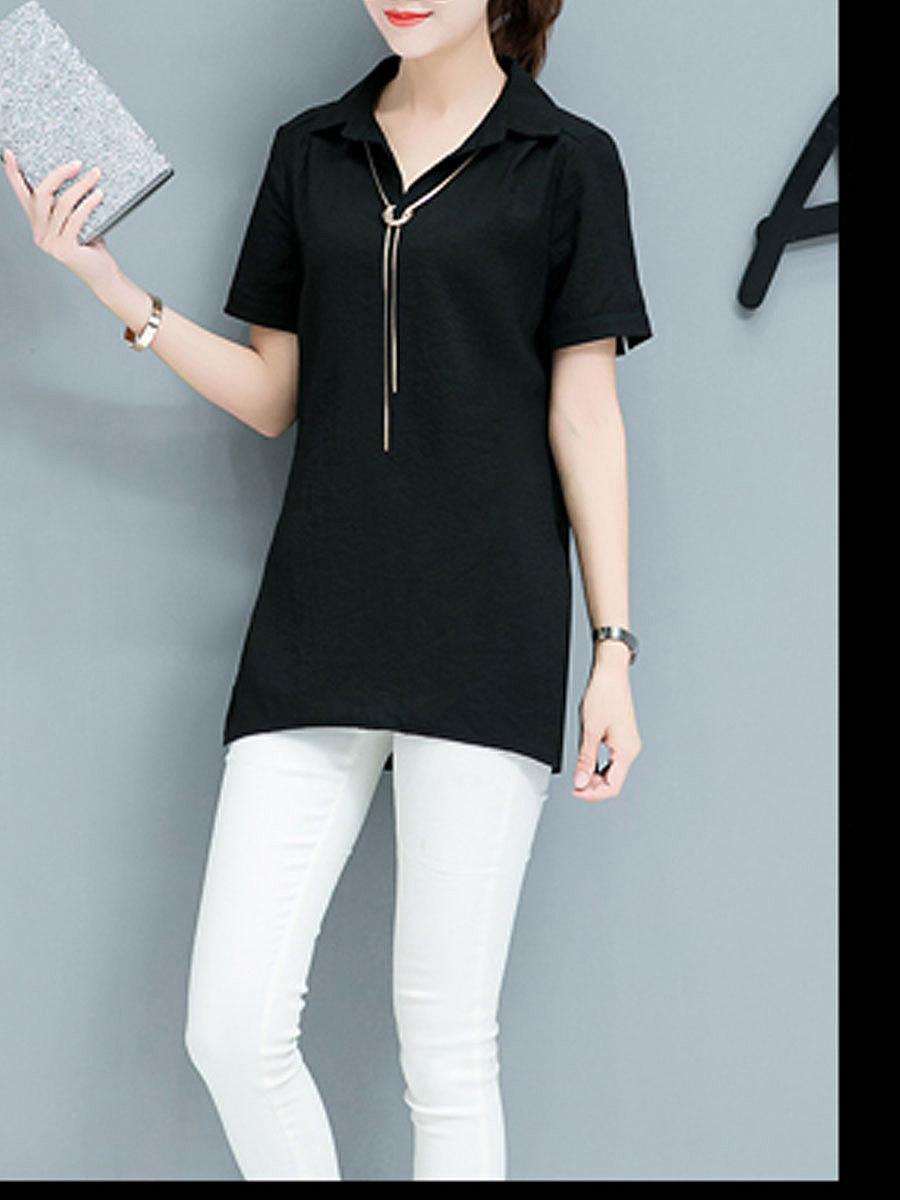 Spring Summer  Cotton  Women  Turn Down Collar  Asymmetric Hem  Plain  Short Sleeve Blouses