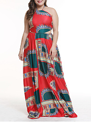 Halter  Backless  Abstract Print Plus Size Midi & Maxi Dress