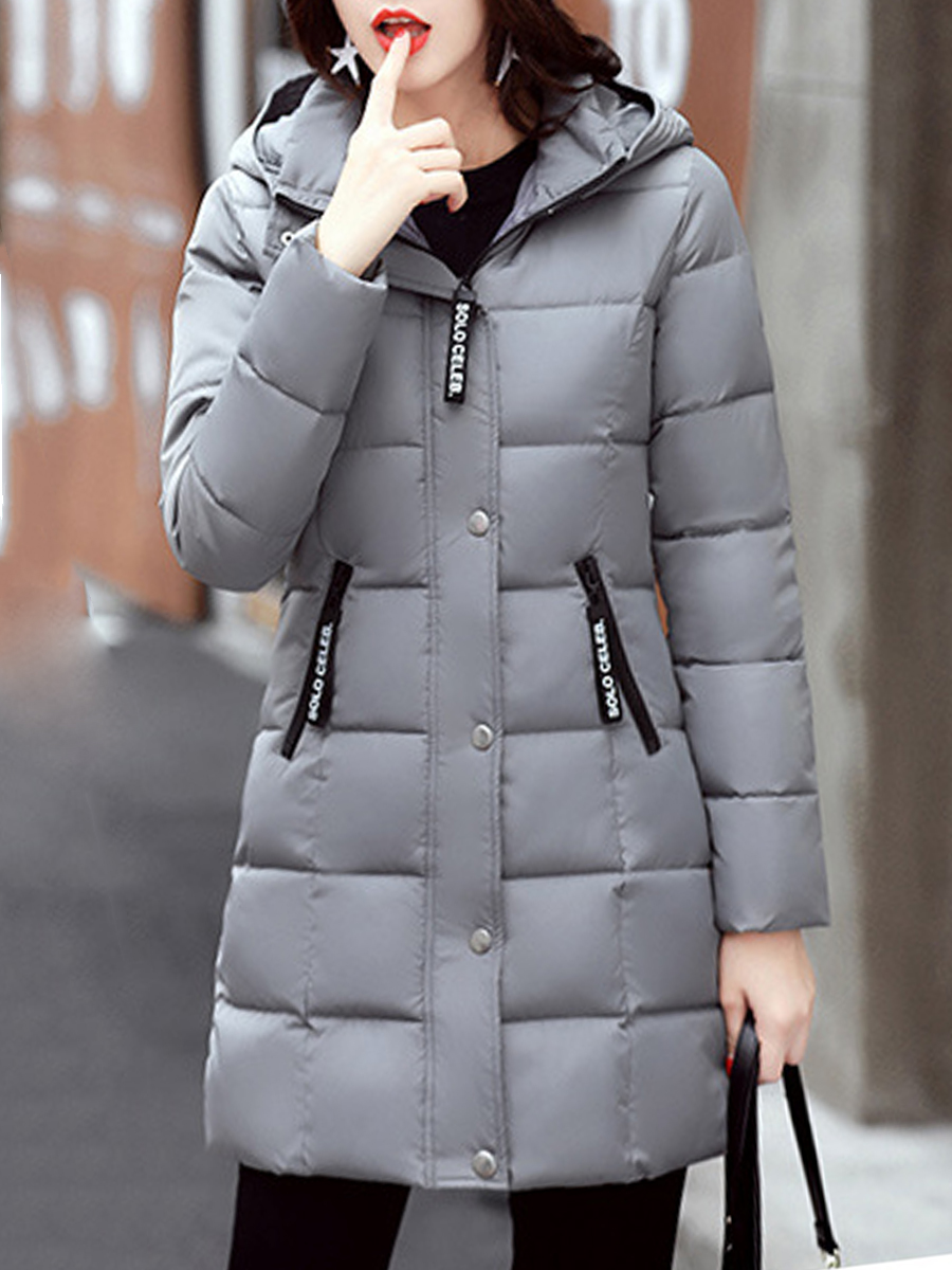 casual single breasted zips letters plain winter Hooded  Single Breasted Zips  Letters Plain  Long Sleeve Coats