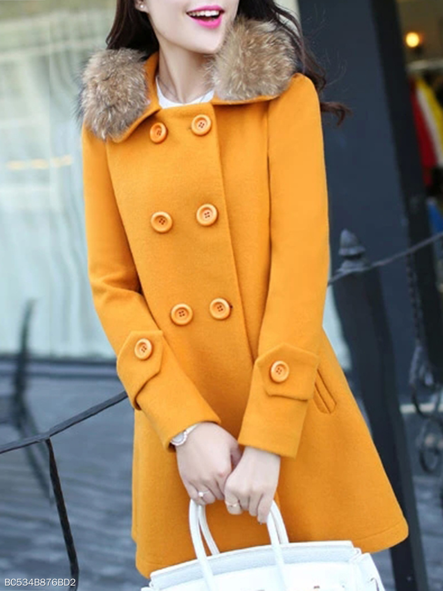 Faux Fur Collar  Double Breasted Slit Pocket  Plain  Long Sleeve Coats