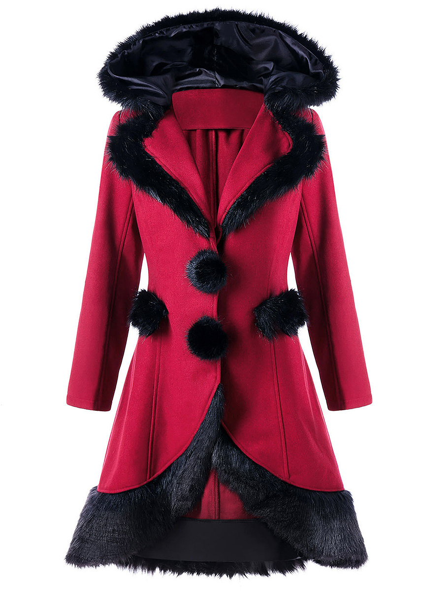 Hooded Lace-Up Long Woolen Coat
