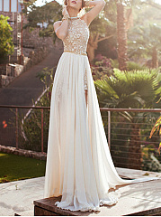 Halter  Backless Patchwork  Lace Plain Evening Dress
