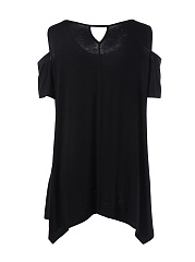 Diamante  Plain  Short Sleeve Plus Size T-Shirts