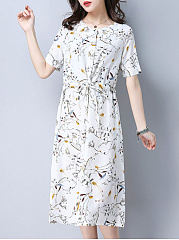 Round Neck  Drawstring  Floral Printed Shift Dress