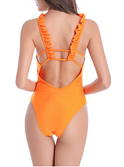 Spaghetti Strap Ruffle Trim Back Hole Plain One Piece