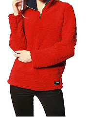 Band Collar  Zipper  Plain Sweatshirt