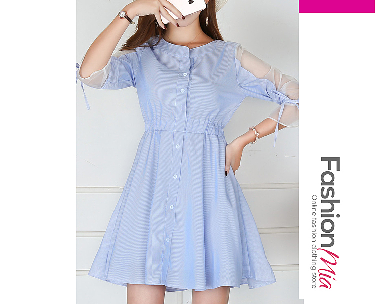 Round Neck  Bowknot Patchwork Ruffled Hem See-Through Single Breasted  Contrast Piping  Striped Skater Dress
