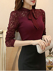 Autumn Spring  Blend  Women  Tie Collar  Decorative Lace See-Through  Plain  Long Sleeve Blouses