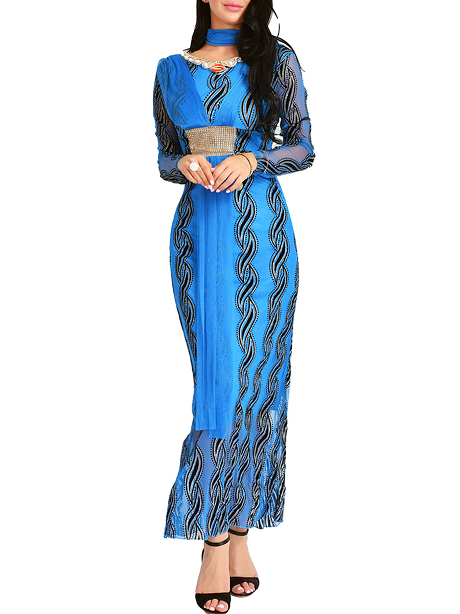 Round Neck Hollow Out Printed Maxi Dress With Scarf