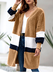 Collarless  Color Block  Long Sleeve Coats