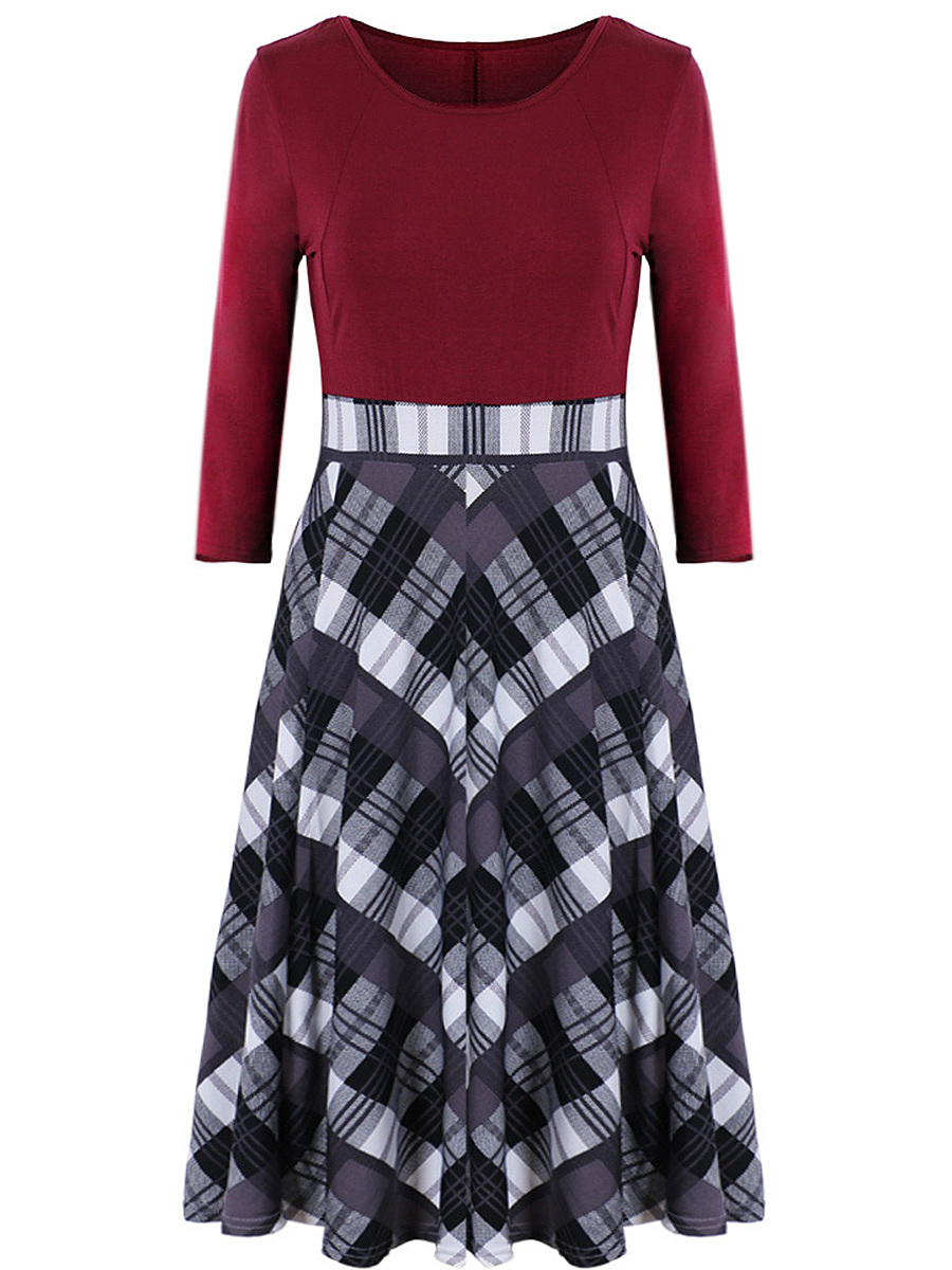 Round Neck  Plaid Midi Skater Dress