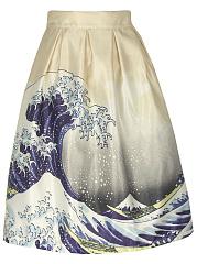 Inverted-Pleat-Seawater-Printed-Flared-Midi-Skirt