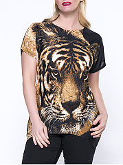 Trendy Animal Printed Round Neck Plus Size T-Shirt