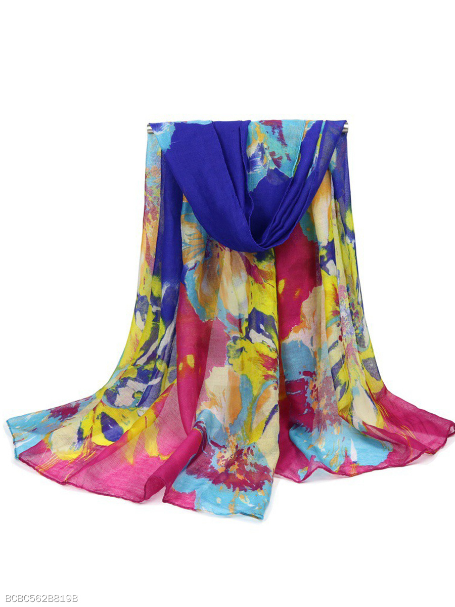 Colorful Floral Long Scarf