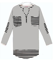 Autumn Spring  Polyester  Women  V-Neck  Patchwork  Striped Long Sleeve T-Shirts