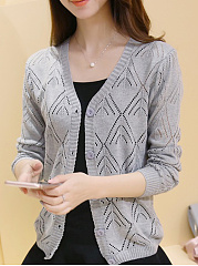 Single Breasted  Hollow Out Plain  Long Sleeve Cardigans