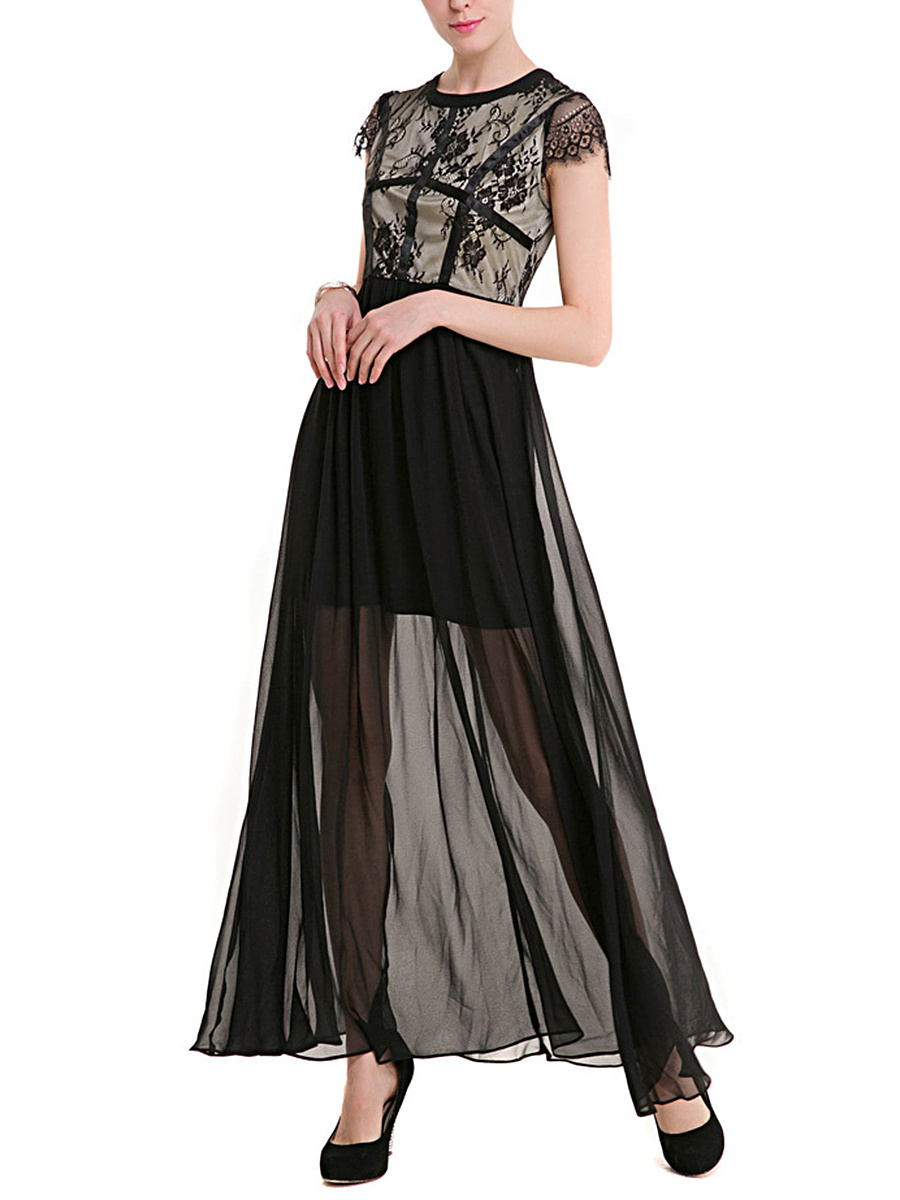 Crew Neck See-Through Decorative Lace Maxi Dress