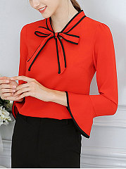 Autumn Spring  Polyester  Women  Tie Collar  Bowknot  Plain  Bell Sleeve  Three-Quarter Sleeve Blouses