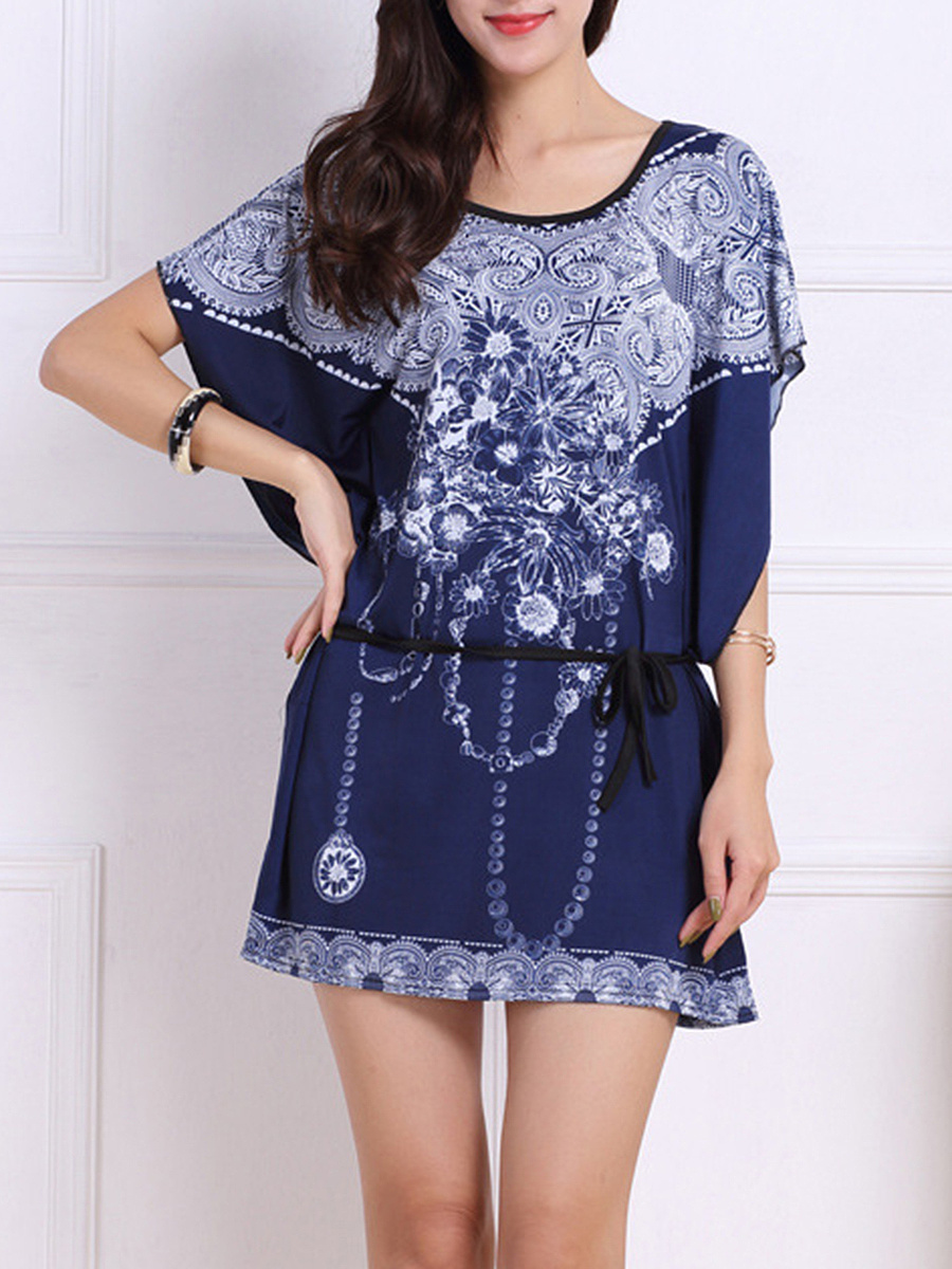 Batwing Sleeve Printed Mini Shift Dress