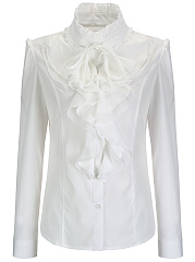 Spring  Chiffon  Women  Band Collar  Cascading Ruffles  Plain  Long Sleeve Blouses