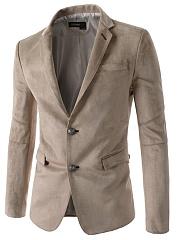 Notch-Lapel-Flap-Pocket-Vented-Plain-Men-Blazer