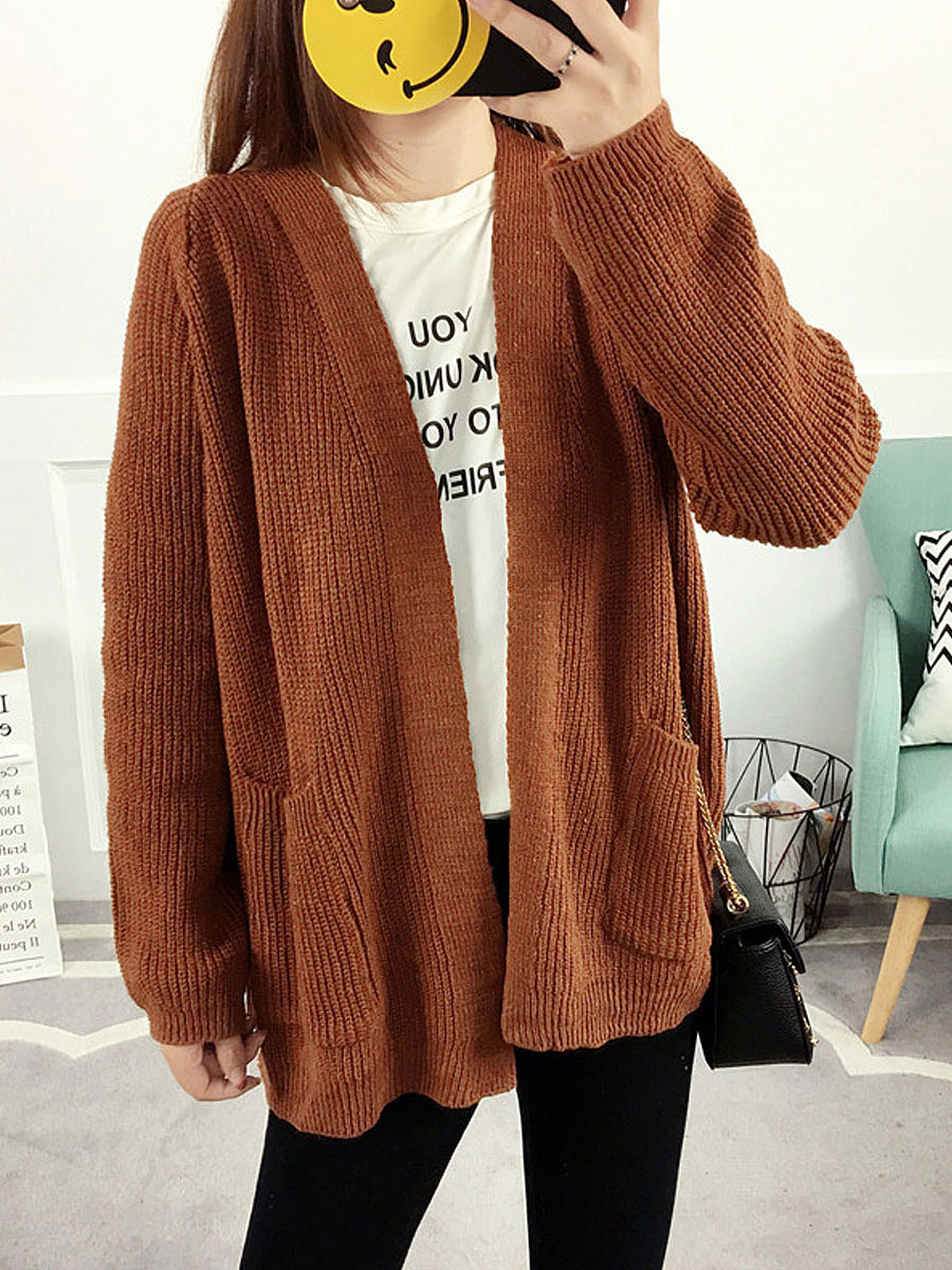 Patch Pocket  Plain Cardigans