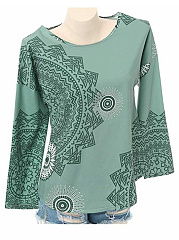 Autumn Spring  Cotton  Women  Round Neck  Floral Printed Long Sleeve T-Shirts