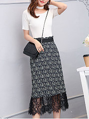 Decorative Lace  Multi-Way  Plain  Pencil Midi Skirts