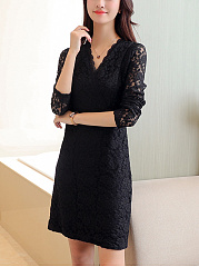 Surplice  Plain Lace Date Shift Dress