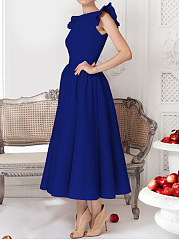 Round Neck Flounce Plain Evening Dress
