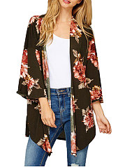 Collarless  Asymmetric Hem  Floral Printed  Three-Quarter Sleeve Cardigans