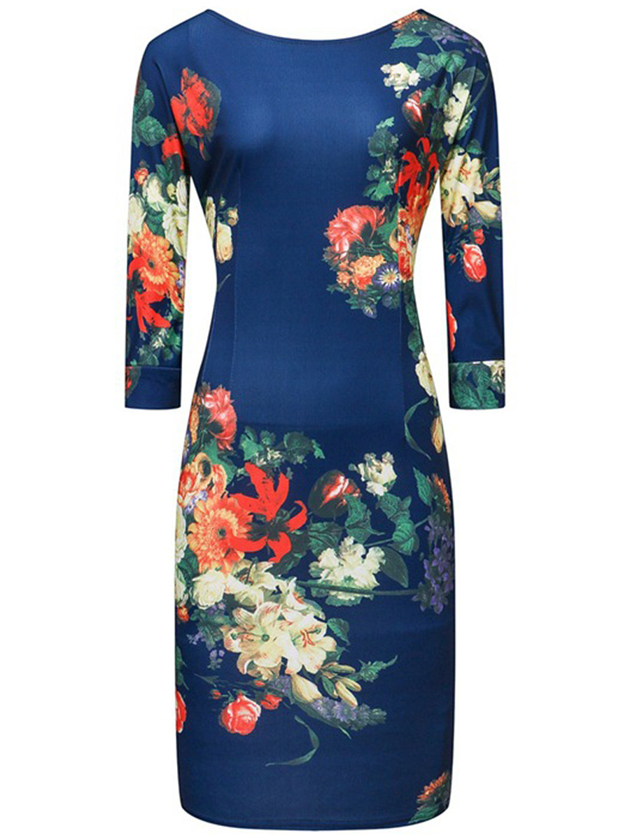 Elegant Style Floral Printed Round Neck Bodycon Dress