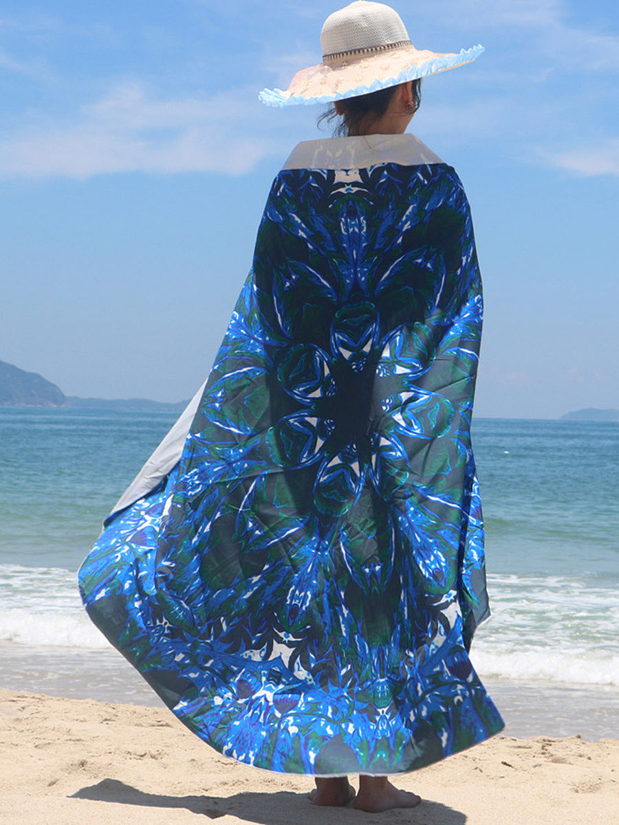 Casual Designed Printed Round Beach Shawl