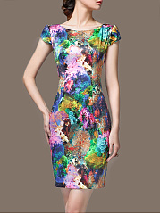 Multi-Color Printed Round Neck Bodycon Dress